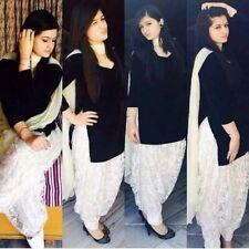 Black Handmade Cotton Suit Salwar Kameez Dupatta Punjabi Wedding Suit Dress 3pcs