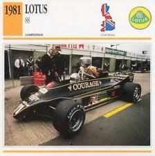 1981 LOTUS 88 Racing Classic Car Photo/Info Maxi Card