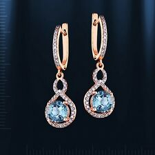 Russian Solid Rose Gold 585 /14ct Blue Topaz Drop Dangle Earrings .