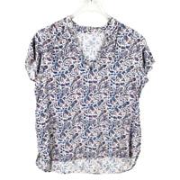 GAP Womens V-Neck Paisley Hi Low Top Size XL Short Sleeve Multicolor Rayon Shirt