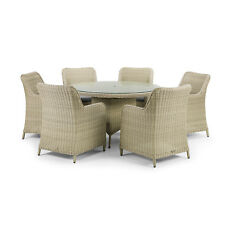 Round Rattan Dining Table and 6 Dining Chairs in Natural Style Finish Imola