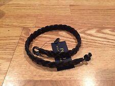Polo Ralph Lauren black wrap around leather braided wrist strap bracelet $78 RL