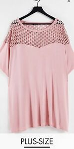 Yours Limited Collection Women's Pink Mesh Insert Shirt Plus Size Curve Size 24