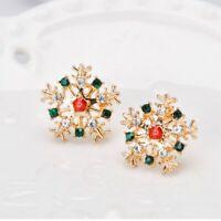 Fashion Christmas Rhinestone Gift Snowflake Design Stud Earring Earring Jewelry