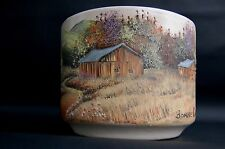 MID CENTURY Signed by ARTIST Bonnie Owens OIL PAINTING on GAINEY CERAMIC Pottery