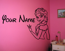 Large Personalised Frozen Elsa Disney Wall Art Sticker - Girls Bedroom
