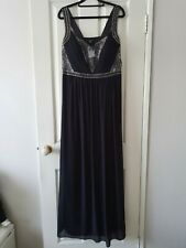 NEW City Chic Black and Silver Lace Trim Love Formal Maxi Ball Dress Size XS