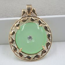 18k Yellow GP Alloy With Light Green Jade Safety Button Woman Pendant 38x28mm