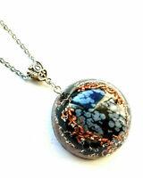 Orgone Orgonite Snowflake Obsidian pendant, Black Tourmaline, chakra, Unisex