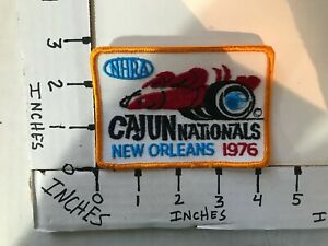 """EMBROIDERED 1976 NHRA CAJUN NATIONALS NEW ORLEANS JACKET PATCH 3"""" X 4"""""""