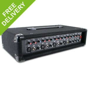 4 Channel Powered Mono Mixer Amplifier Live Band PA Schools Halls 2 x 100W Amp