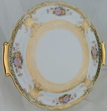 ANTIQUE HANDLED CAKE OR DECORATIVE PLATE RAISED GOLD,FLOWER BOUQUET/BASKET