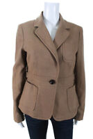 J Crew Womens Button Up Collared Blazer Jacket Top Beige Size Small
