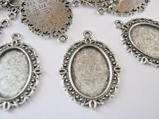 10 Oval Pendant Trays Blanks Necklace Settings Fits 18x13mm Oval Cabochons