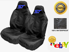 ST BLUE LOGO - Pair Sports Bucket Car Seat Covers Protectors x2 / FORD FOCUS ST