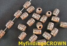 100PCS Antiqued copper motif crafted barrel spacers beads FC198C