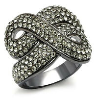 Crossing TIN Cobalt Black Gold Plated Crystal Stones Le Glace Ladies Ring