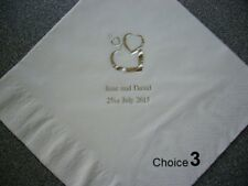 100 Personalised Wedding Napkins with various design & colour options available