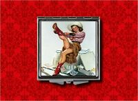 COWGIRL COUNTRY PIN UP GIRL VINTAGE COMPACT MIRROR