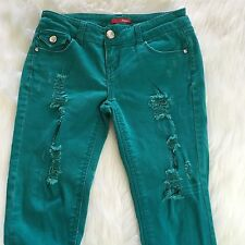 BONGO A1007 Distressed Womens Pants Teal Green Junior Tag Size 3 Diamond Button