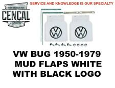 VW BUG MUD FLAPS WHITE WITH BLACK LOGO  (SOLD AS A PAIR) 1950-1979 111821805W