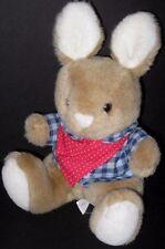 Jacadi Plush Tan Brown Bunny Rabbit Blue Plaid Shirt Red Scarf Stuffed Animal