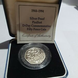 1994 D-Day Landing PIEDFORT Proof Fifty 50p, BU copro-nickel 50p sealed pack