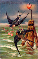 Antique Valentine~BARN SWALLOWS PLAY~GUIDE POST w RED HEART~EAS Postcard~Germany