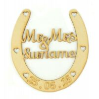 Personalised Mr & Mrs Wedding Engagement Anniversary Wooden Horse Shoe Gift PL61