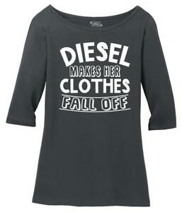 Ladies Diesel Makes Her Clothes Fall Off Scoop 3/4-Slv Tee Truck Sex Country