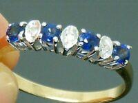 9ct Gold Sapphire & Diamond Hallmarked Eternity ring size O