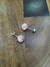 stud earrings pink shamballa style