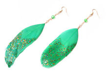 Cute Funky Grass Green Feathery Long Hanging Earrings Glitters&Small Bead(T436)