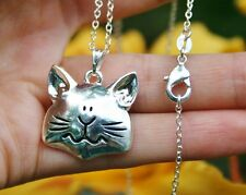 .925 Sterling Silver NECKLACE Cat Face Pendant Kitty Lover Chunky Quirky Gift