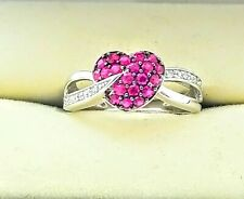 Kay Jewelers 10K white gold Ruby heart ring size 4