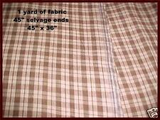 "Antique 19th c Primitive Brown Check Homespun 1 Yard of Fabric 45"" Selvage Ends"