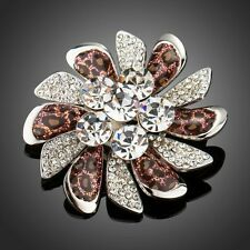 White Gold Plated Made With Swarovski Crystal Leopard Pattern Pin Brooch Br849