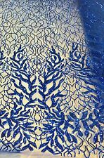 DAZZLING ROYAL BLUE FASHION TREE EMBROIDER WITH SEQUINS ON A MESH-SOLD BY YARD