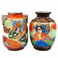 2 Miniature Japanese Vase Satsuma Style Hand Painted Moriage Small Urn Vintage