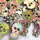 10/50/100pcs Mixed 2 Holes Skull Head Wood Sewing Buttons Scrapbooking WB374