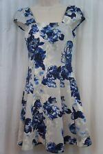 BCBG BCBGeneration Dress Sz 10 Navy Sea Blue Multi Cap Sleeve Floral Flare Dress