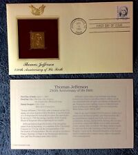 THOMAS JEFFERSON GOLD  REPLICA STAMP FIRST DAY COVER & INTSERT  #230