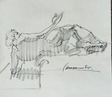 Harry Carmean charcoal drawing of reclining male model 1985