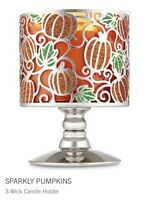 BATH & BODY WORKS Sparkly Pumpkins Candle Holder Pedestal 3 Wick Candle Sleeve