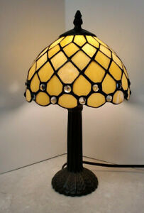 """Small Tiffany-Style Table Boudoir Lamp 14"""" Brown Base Gold Colored Shade"""