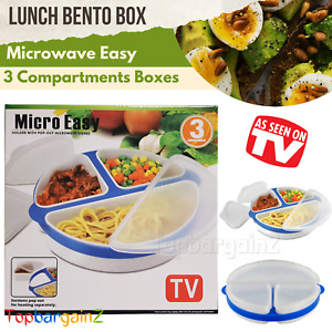 Microwave Bento Lunch Box 3 Compartments Kids Adult Food Container Storage Boxes