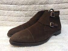 Crockett & Jones 'CAMBERLEY' Brown Suede Double Monkstrap Boots Size UK 9.5 E