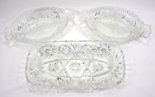 """(Set of 3) Cut Glass Crystal Relish Trays - Serving Dishes 12"""", 10"""" - NICE!"""