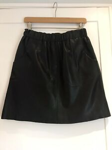 Boden Black Real Leather Skirt Size 10