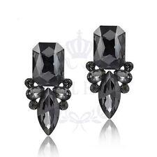 Grey Crystal Stud Earrings Jewellery Birthday Wedding Gift UK Seller E14